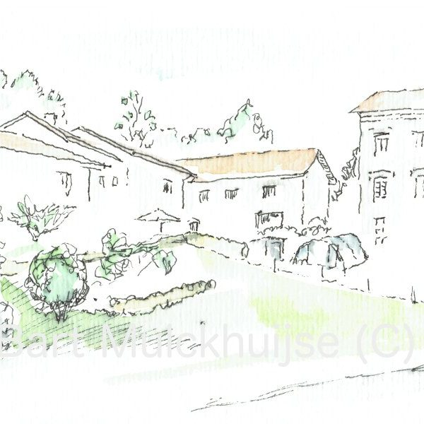 ink-drawing-aquarel-village-le-phaux