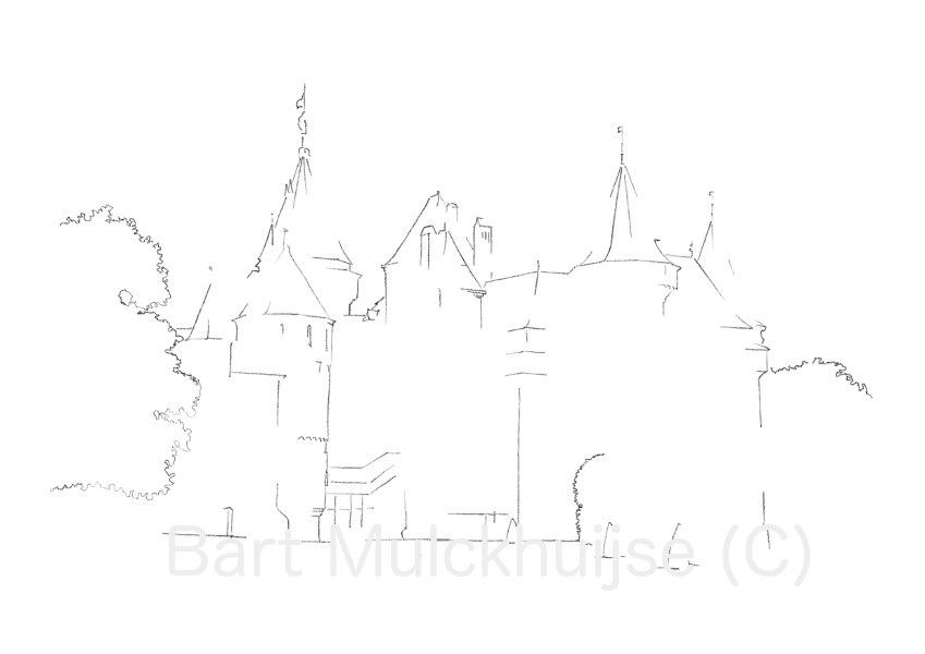 drawing-castle-de-haar-holland-bart-mulckhuijse