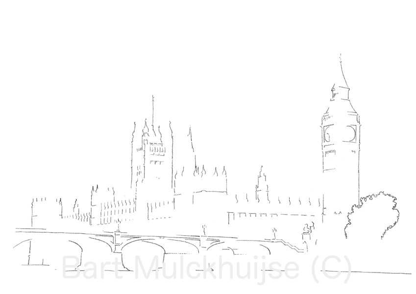drawing-westminster-big-ben-london-bart-mulckhuijse